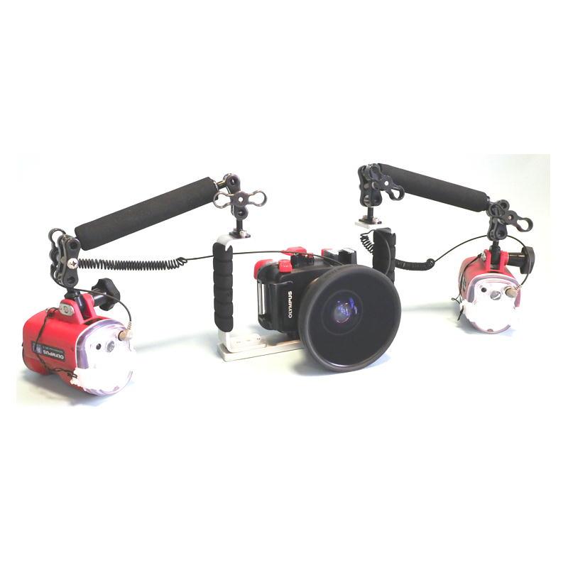 オリンパス TG-5 + PT-058(TG-5用防水プロテクター) + MPBK-02(両手グリップ)+ MPアームL&フロートセット + UFL-3フラッシュ(2灯)+ ワイドコンバージョンレンズPTWC-01 ワイドモデル