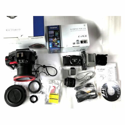 中古水中カメラ機材 オリンパス PT-EP10 + E-PL6ブラック 14-42mmレンズキット