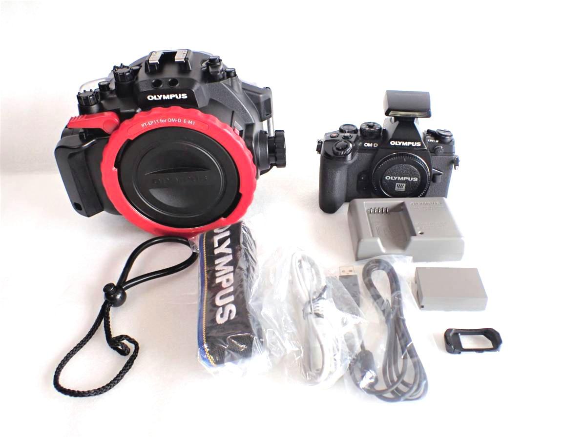中古水中カメラ機材 OM-D E-M1ミラーレス一眼 + PT-EP11防水プロテクターセット